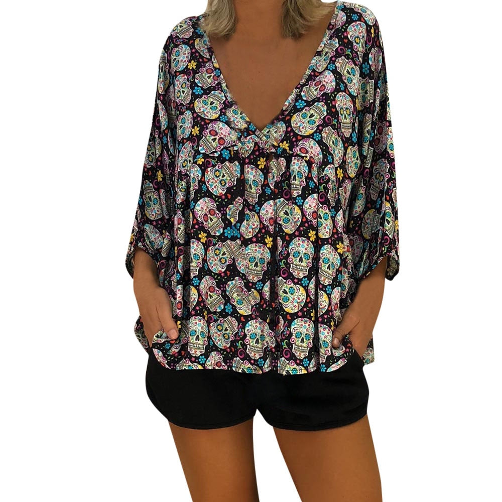 Sexy Top Women Blouse Womens 3/4 Sleeve  Skull Print