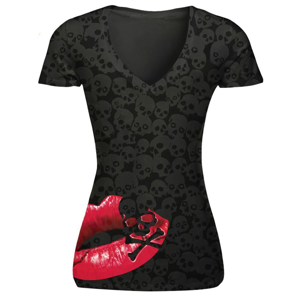 Hot Sale Sexy Red Lips 3D Print Grey T Shirt