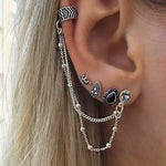 Vintage 4 PCS/Set Ear Jewelry for Women Silver-Color Geometric Crown