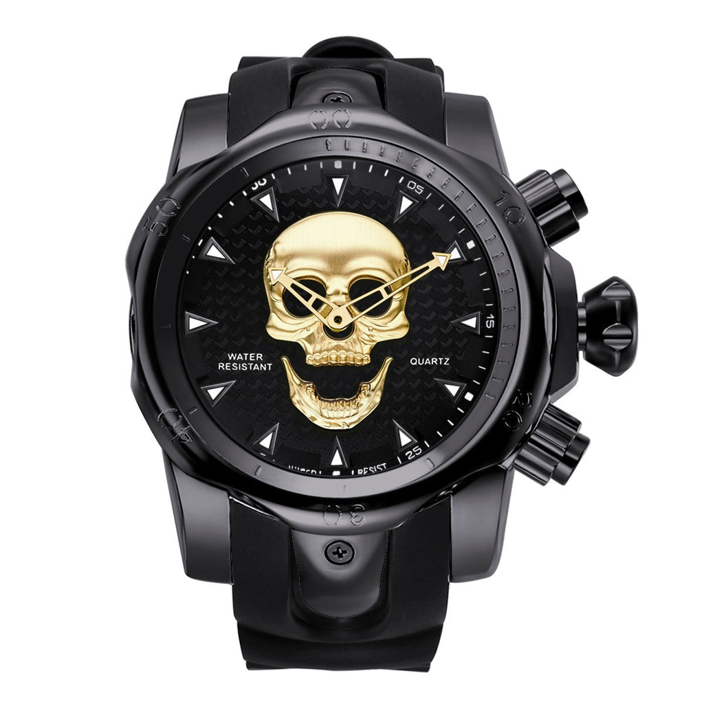 New Big Dial Rotatable 3D Skull Watch Men Gold Black Ghost