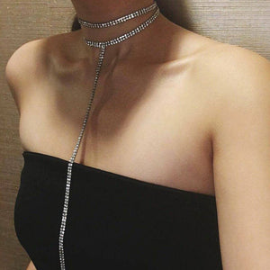 Hot Sell Luxury Collar Chokers Necklace Women Elegant Maxi Statement Rhinestone Choker Crystal Gem Necklaces