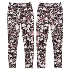 Sexy Women Stretch Leggings Elastic Slim Skinny Skull Printed Legging Mid Waist Legings Full Length Pants Free Size