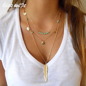 KISS WIFE 2017 New Fashion Feather Necklace Leaf Layer 3 Necklace Multilayer Necklace Women