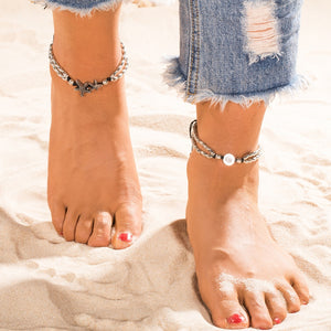 Summer Beads Pendant Anklet Foot Chain Ankle Starfish Bracelet Charm Double Chain Anklet Beach Vintage Foot Jewelry