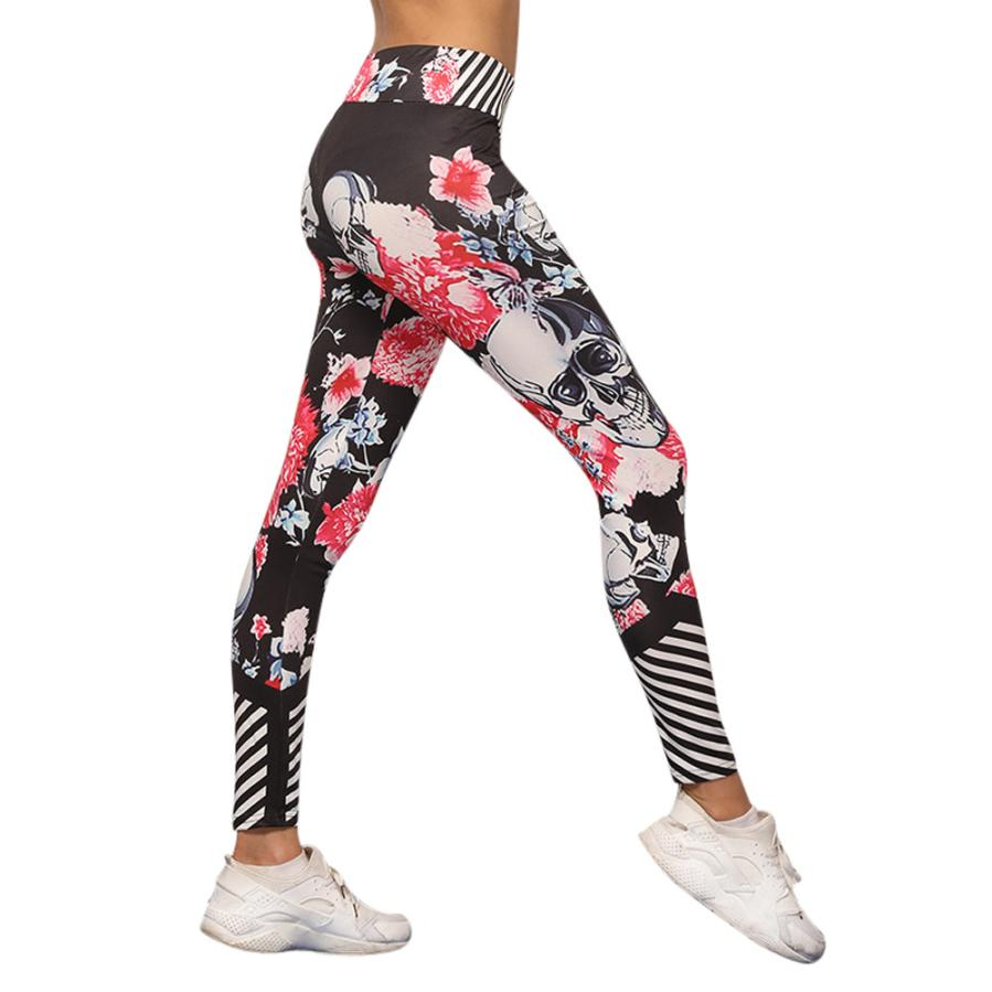 Yoga Pants Black High Waist Running Slim Sport Pants Gym Leggings for Trousers Women's Skull Printed Leggings Athle
