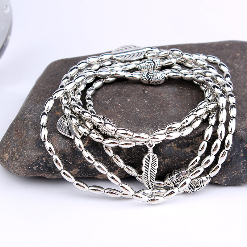 New Fashion Multilayer Retro Bohemia Round Leaves Anklet Beach Foot Jewelry Pull Bead Boho Anklet Bracelet For Women