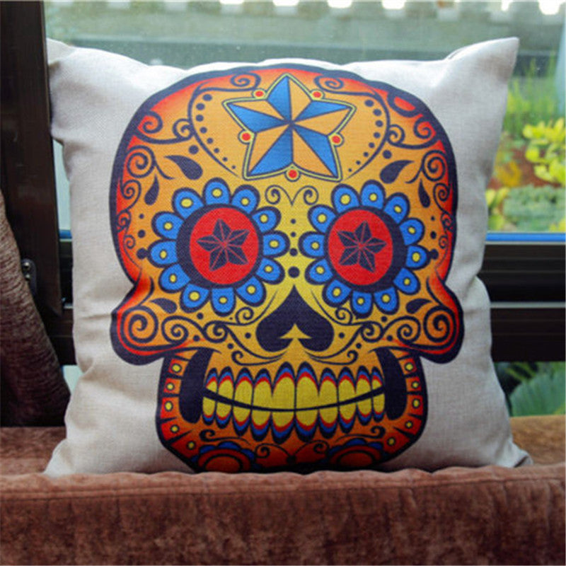 Kiwiberry Mexican day of died Skull Pillowcase Cotton Linen Decorative skullhead cushion cover Almofadas Cojines