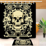 Skull Extra Long Black Shower Curtain And Bath Mat Set