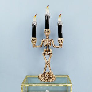 LED Candle Holder 3-arms Skull Skeleton Candle Stand Resin For Home