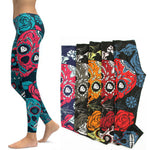 Sports Leggings Yoga Pants Blue Sugar Skull Women Fitness Rapper Leggings Tight Pants Gym Training Sports Running Legging