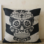 "18x18"" Vintage Happy Halloween Big Arrow Sugar Skull Geometric Gift Present Burlap Cushion Cover Case Throw Pillowcase"