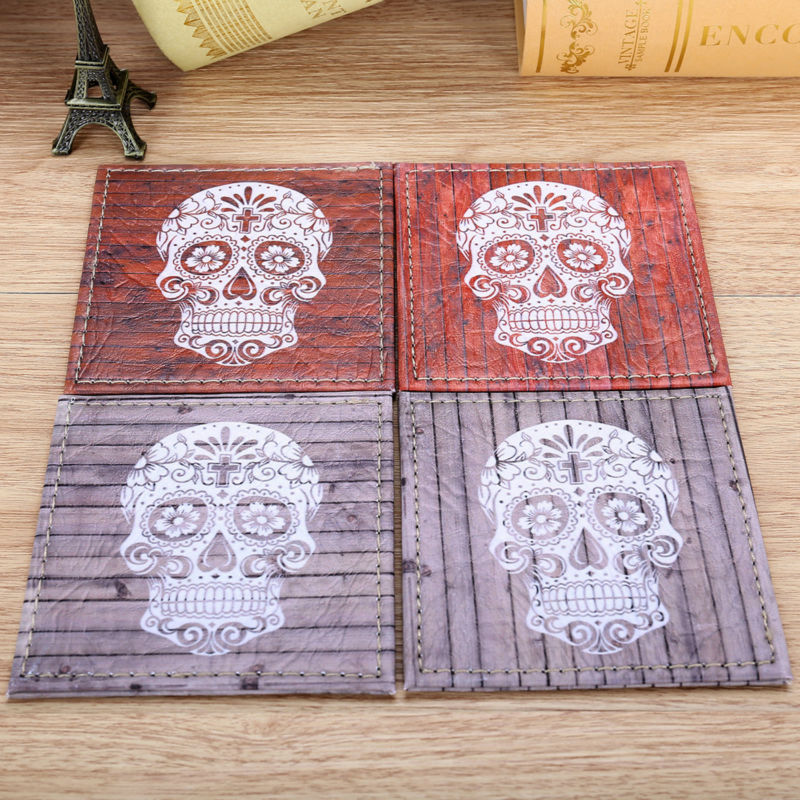 Set of 4 10cmx10cm Happy Halloween's Day Ornament Wood Slat Sugar Skull Coasters Cup Holder Coffee Coasters Cup Mat