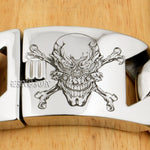 Deep Laser Engraved Pirate Skull Huge Heavy 316L Stainless Steel