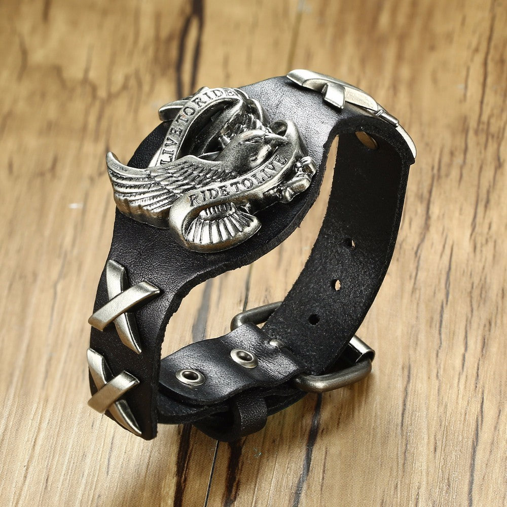 LIVE TO RIDE, RIDE TO LIVE Leather Bikers Bracelet for Men 60's Styled Motorcycle Adjustable Bangle Male Hip-hop Jewelry