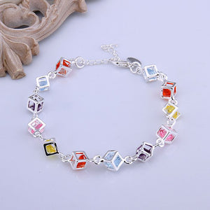 925 jewelry silver plated bracelet, 925-sterling-silver fashion jewelry Colored Stone Bracelet /afsaiwza bscakjja