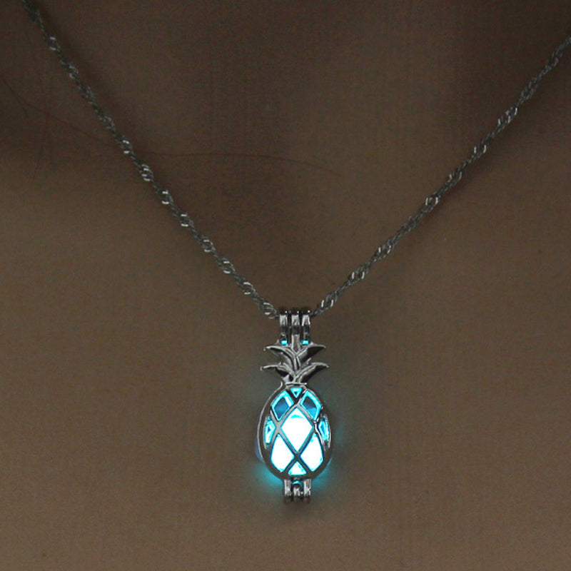 Luminous Horse Skull Pineapple Rose Necklace Pendant Hollow Long Silver Chain Link Pendants Sweater Necklace