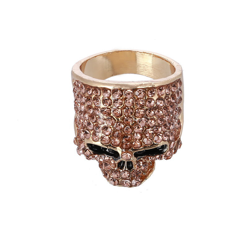 Fashion Rock Punk Gold Silver Black Crystal Skull Ring For Women Men Jewelry Gothic Biker Rings Party Gift