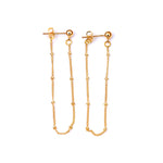4mm Ball Tiny Beaded Chain Ear Jacket Earrings for Women Minimalist Thin Chain Earrings New Simple Ear Cuff Earrings