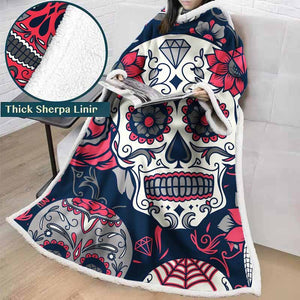 3D Printed Black And White Sugar Skull Throw Blanket Winter Thick