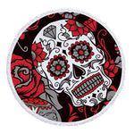 Lannidaa Sugar Skull Round Beach Towel Flowers Large Beach Towels For Adults Microfiber Towel Bath Serviette De Plage Beach Mat