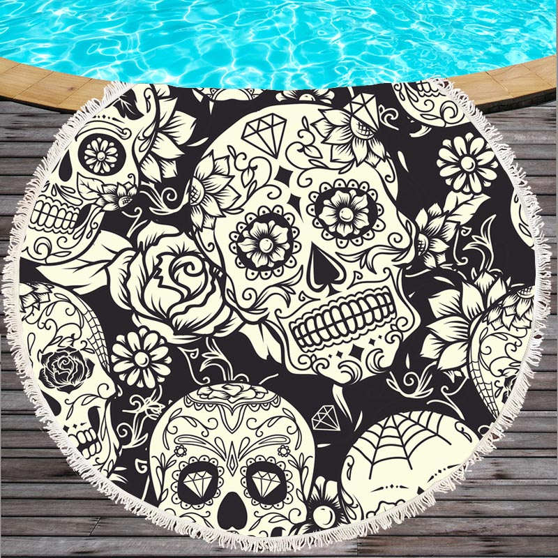 Large Bath Towel for Beach Thick Round 3d Sugar Skull Printed Beach Towel Fabric Quick Compressed Towel Tapestry Yoga Mat