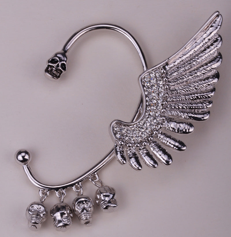 Left ear clip cuff earrings Wing skull hiphop jewelry for women W crystal antique gold silver color