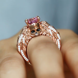 Luxury Rose Gold Ring Engagement Skull Angel Wings Rings For Women Gothic Red Cystal Wedding Band Bridal Accessory Jewelry