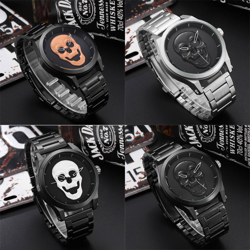 Luxury Skull Men Watches Steampunk  reloj hombre Engrave Stainless Steel Quartz