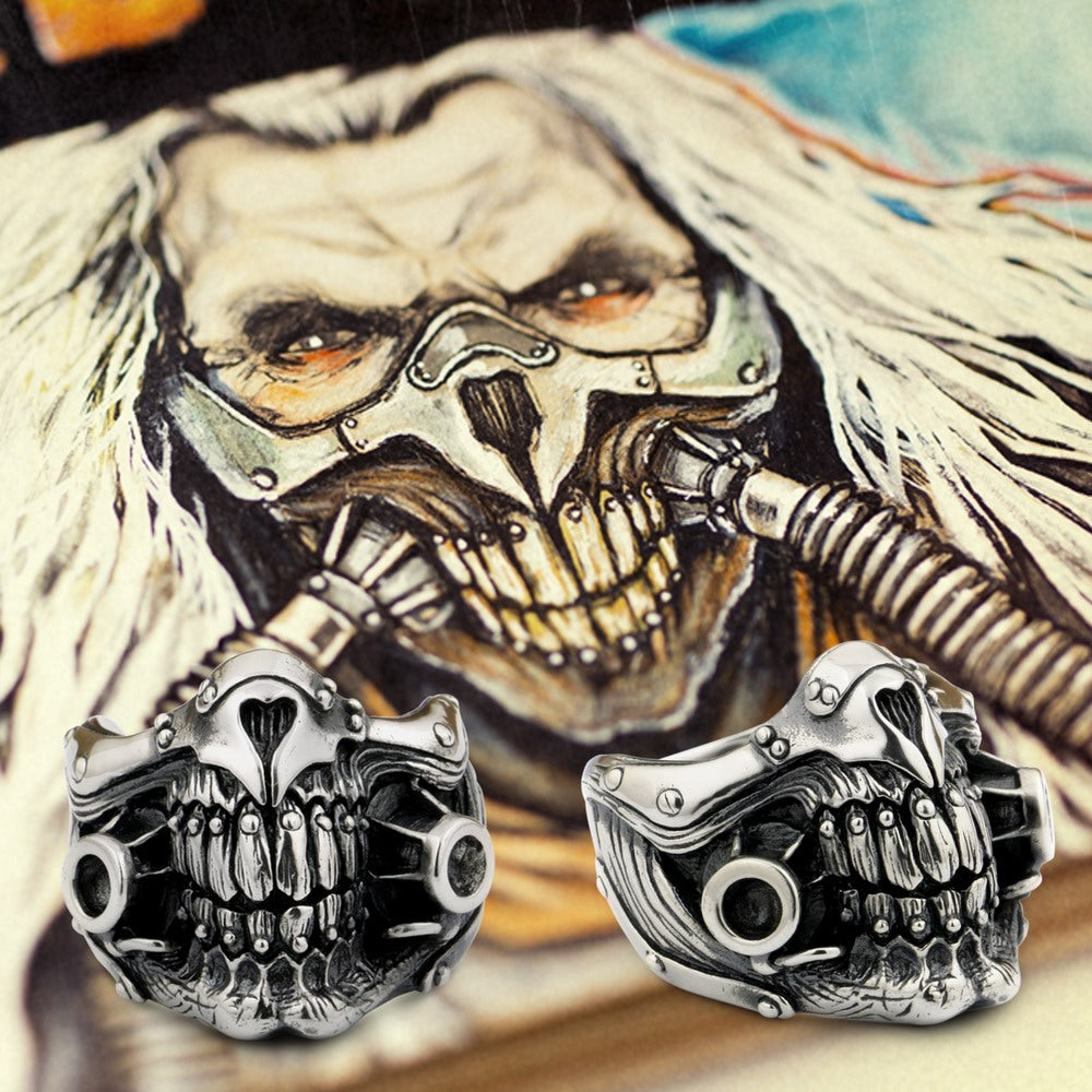 MAD MAX Immortan Joe Ring 925 Sterling Silver Mens Biker Skull 9Y021A
