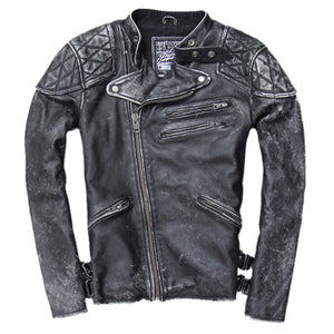 Vintage Men Leather Jacket Skull Calfskin Cowhide Motorcycle Jacket Motor Biker Clothing Distressed Leather Coat M135