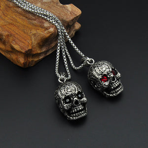 Hiphop Jewelry Stainless Steel Skull Head Rhinstone Eye Pendant Link Chain Necklace Bikers Heavy Metal Jewelry Gifts 2MJ
