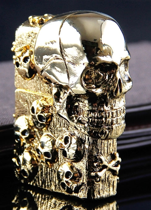 Authentic Heavy armor gold 3D skull  lighter