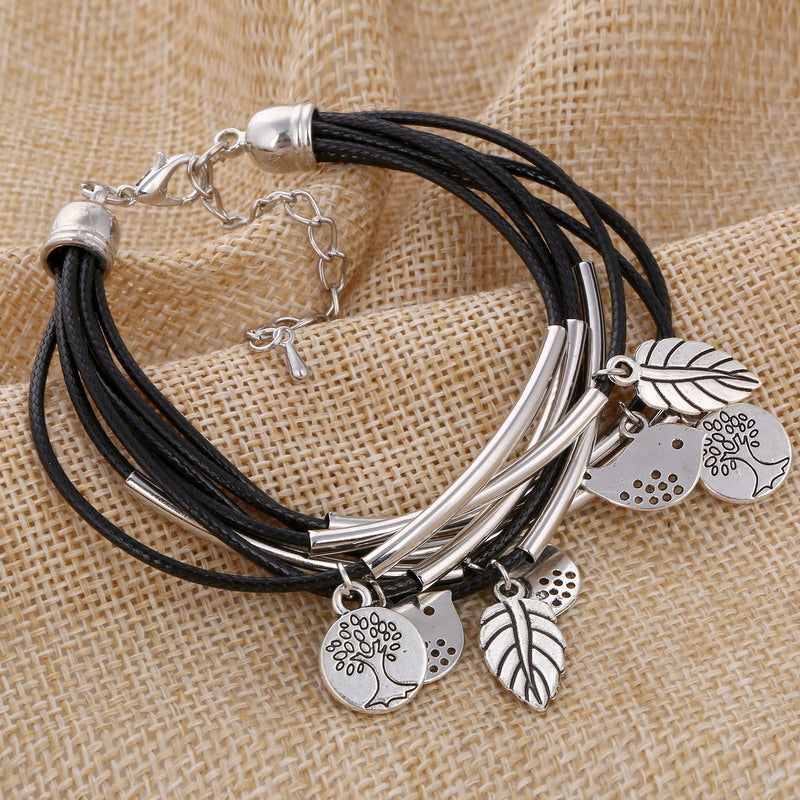 Black/Brown/Beige Colors Multi Layers Leather Bracelet Women Handmade Charm Bangle Mini Birds Pendant Wrist Bracelet