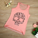 Plus Size Ladies Lace Patchworjk Print Skeleton Tops Women Summer Sexy Skull Print Sleeveless Vest 2017 Fashion Shirts
