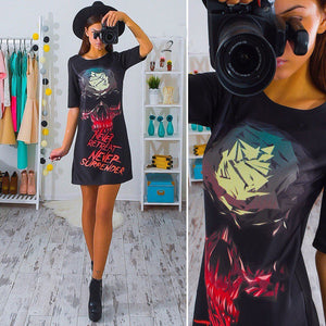 Unique design personality Summer Casual Loose Mini Dress Lady stylish sexy Skull
