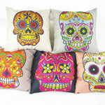 High quality colorful skull print dining chair cushion linen 45x45cm car seat cushions Home decorative pillow for sofa
