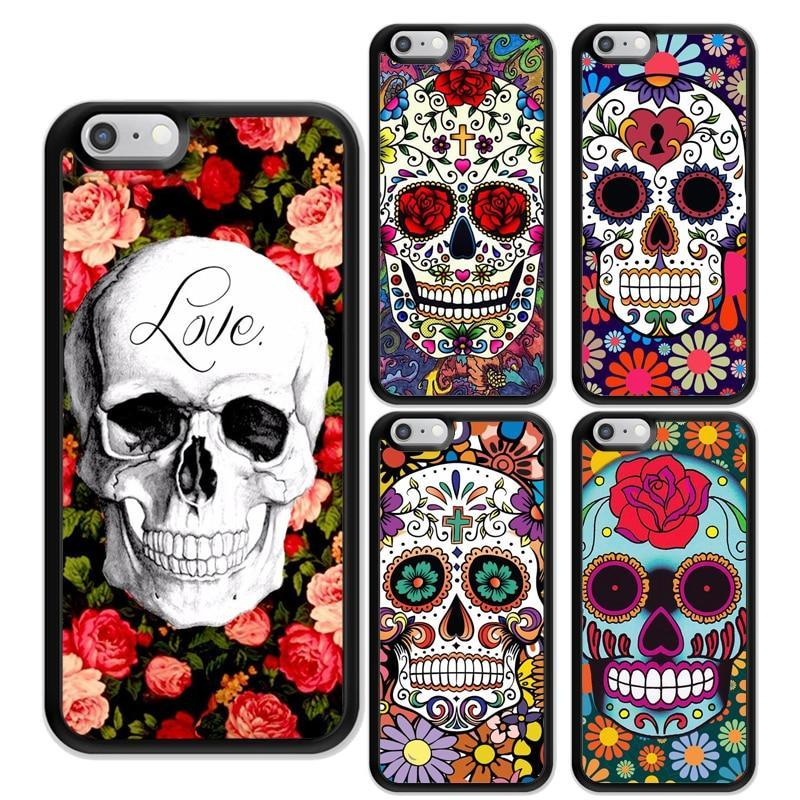 Sugar Skull flower Printed Soft Rubber Mobile Phone Cases For iPhone