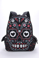 Men Women Unisex Sugar Flower Printed Skull Gothic Emo Punk Backpack Rucksack School Bag Pink Waterproof Mochila