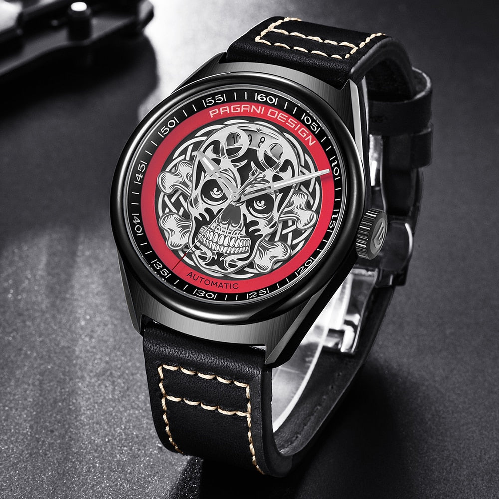 Men's Classic 3D Skull Punk Style Mechanical Watches Waterproof Genuine Leather Brand Luxury Automatic Watch PAGANI DESIGN