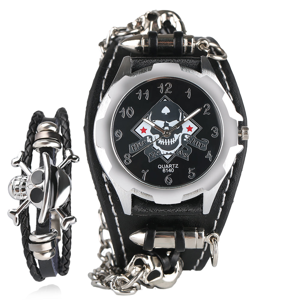 Men's Gothic Style Skull Wrist Watch Stylish Bullet Special Design Leather Band Quartz Watches With Skeleton Skull Bracelet Gift