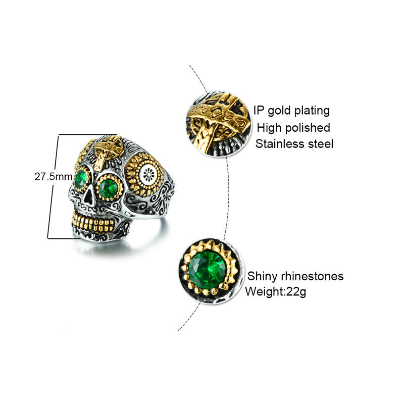 Men's Mexican Sugar Skull Ring Punk Green Eyes Gold Teeth Rings with Gothic Cross for Men Stainless Steel Biker Male Jewelry