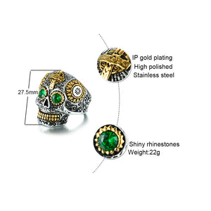 Silver And Gold Plate Sugar Skull Day Of the Dead Skull Ring