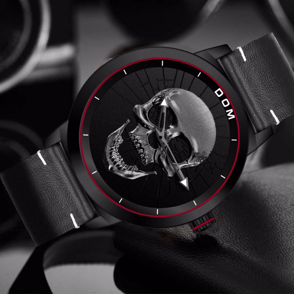 Men's Watch Cool Bone Luxury Brand Creative Clock Black Male Watch Skull Style Quartz Men Watches Clock masculino M-1231 New