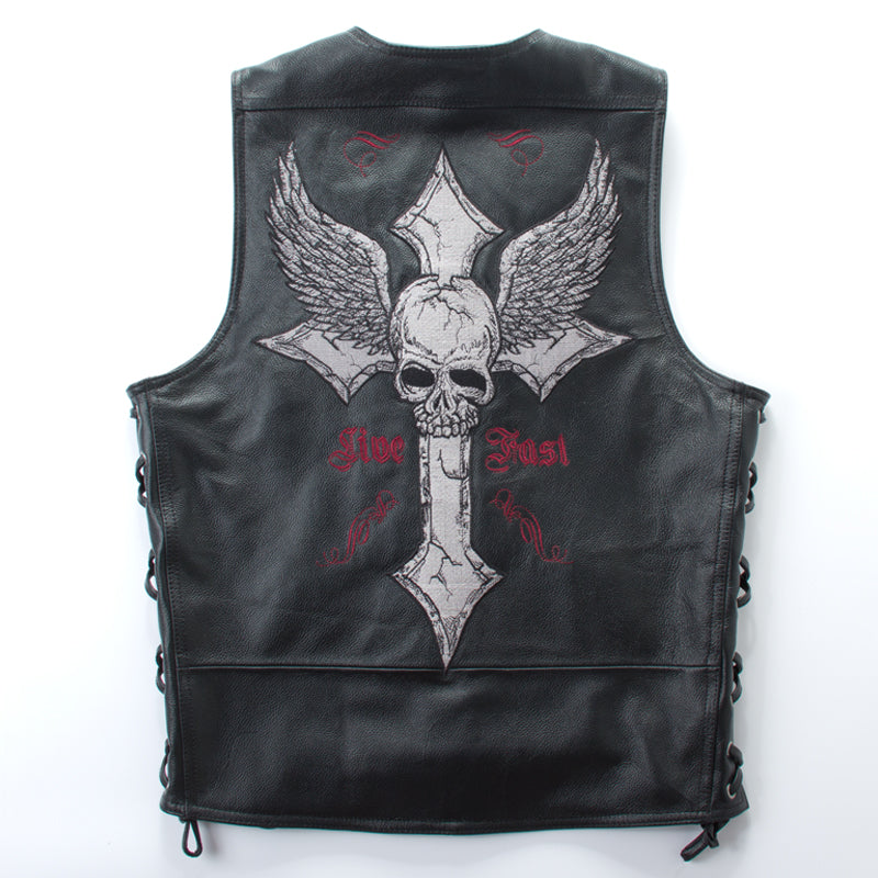Men's punk style genuine leather vest withe skulls pattern motocycle leather vest men v-neck sleeveless cow leather jacket men
