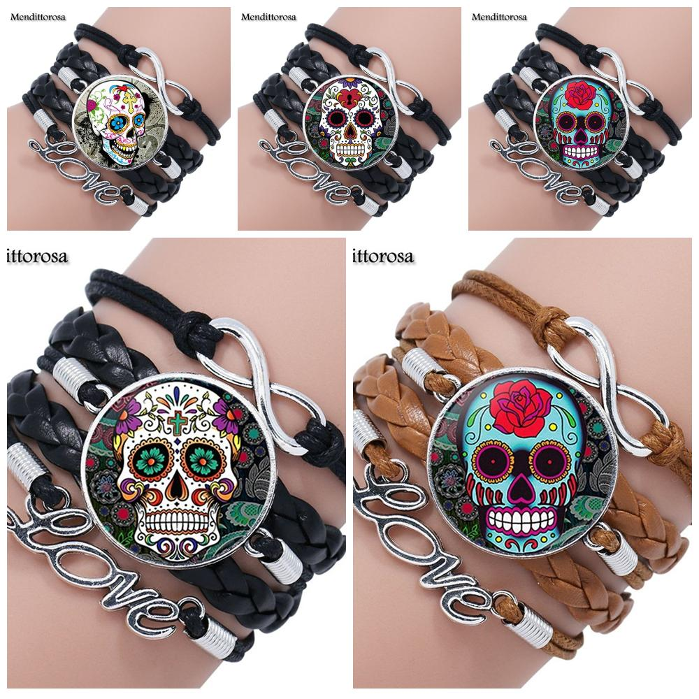 Mendittorosa Mexican Sugar Skull Color Jewelry With Glass Cabochon Multilayer Black/Brown Leather Bracelet Bangle For Women
