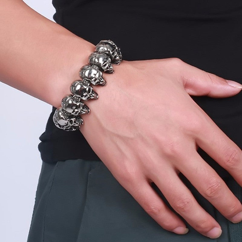 Skull Links Chain Bracelet in Silver Color Stainless Steel Large Heavy Gothic Punk
