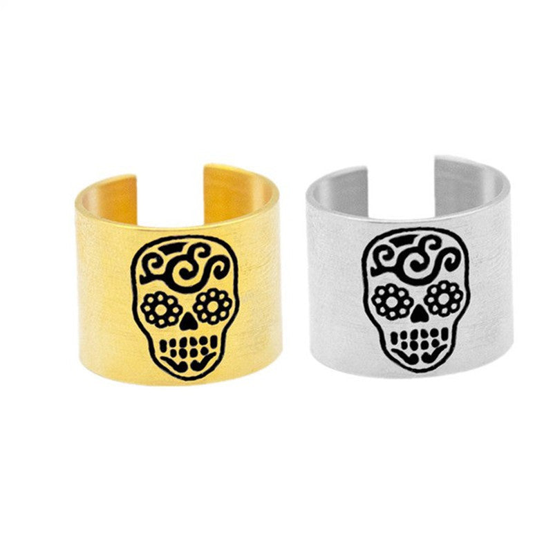Mexican Skull Rings Mens Punk Vintage Party Skeleton Jewelry Walking Evil Skull Ring Men Boys Silver Cool Man Biker Ring