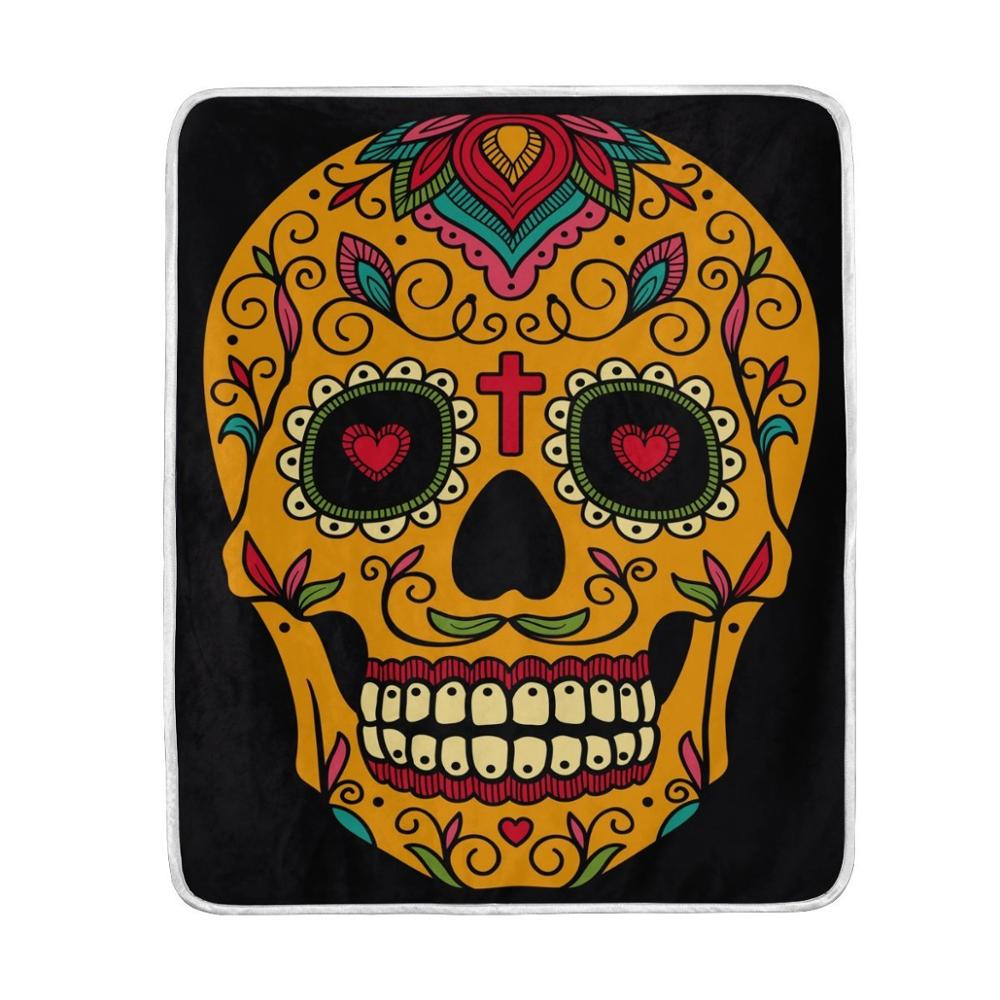 Mexican Sugar Skull Day of the Dead Black Blanket Soft Warm Blankets for Bed