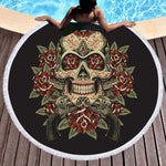 Microfiber Large Bath Towel for Beach Thick 150cm Round Sugar Skull Printed Beach Towel Quick Compressed Towel Tapestry Yoga Mat