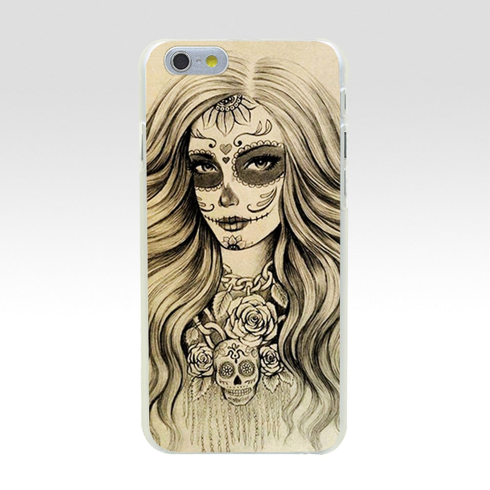 Minason Sugar Skull Drawings Transparent Hard Plastic Case for iPhone